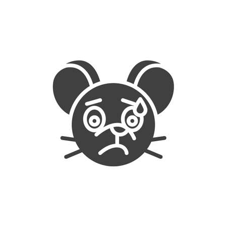 Stressed rat emoticon vector icon. filled flat sign for mobile concept and web design. Sweat Tear mouse face emoji glyph icon. Chinese 2020 year of the rat symbol,  illustration. Vector graphics Illusztráció