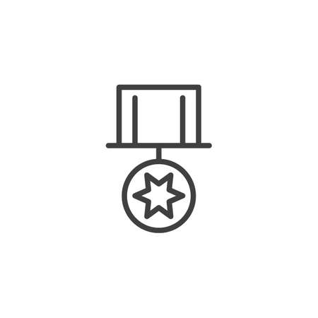 Star medal line icon. linear style sign for mobile concept and web design. Medal reward outline vector icon. Symbol,  illustration. Vector graphics Illusztráció