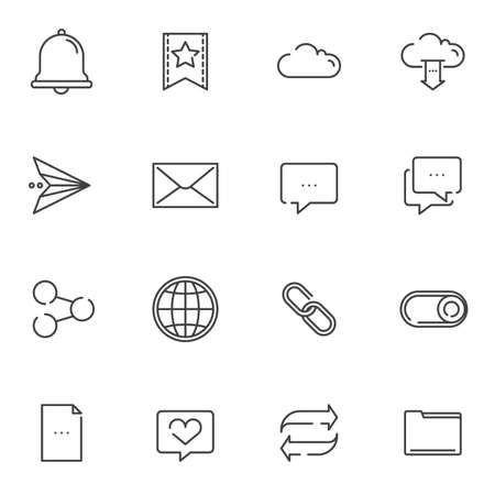 Basic, UI line icons set. Essential linear style symbols collection, outline signs pack. vector graphics. Set includes icons as notification bell, bookmark, cloud storage, mail message, share link