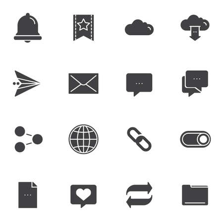 Basic, UI vector icons set, Essential modern solid symbol collection, filled style pictogram pack. Signs  illustration. Set includes icons as notification bell, bookmark, cloud storage, share link