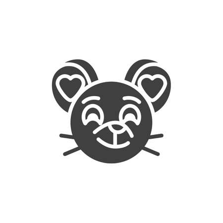 In love rat emoticon vector icon. filled flat sign for mobile concept and web design. Enamored mouse face emoji glyph icon. Chinese 2020 year of the rat symbol,  illustration. Vector graphics