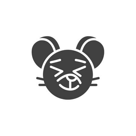 Satisfied rat emoticon vector icon. filled flat sign for mobile concept and web design. Happy mouse face emoji glyph icon. Chinese 2020 year of the rat symbol,  illustration. Vector graphics