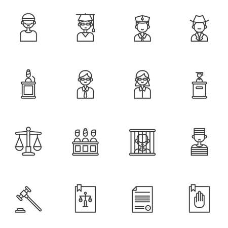 Law, justice line icons set. linear style symbols collection, outline signs pack. vector graphics. Set includes icons as judge gavel, attorney, jury, barrister, judge at podium, law book, prisoner