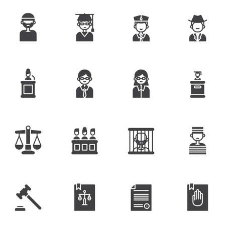 Law, justice vector icons set, modern solid symbol collection, filled style pictogram pack. Signs,  illustration. Set includes icons as judge gavel, attorney, jury, barrister, law book, prisoner
