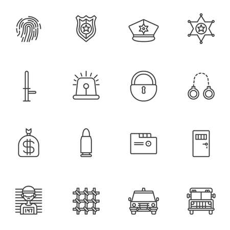 Police line icons set. linear style symbols collection, outline signs pack. vector graphics. Set includes icons as fingerprint, police badge, sheriff star, baton, handcuffs, prisoner, prison bars