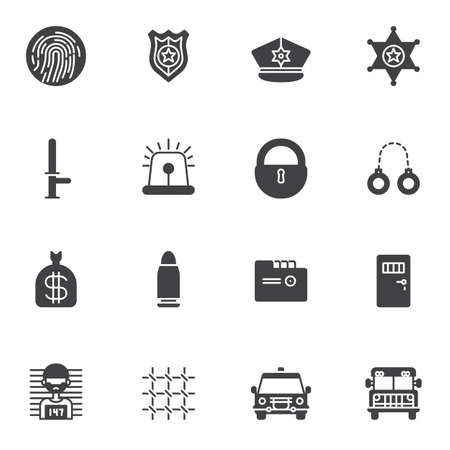 Police vector icons set modern solid symbol collection filled style pictogram pack. Signs,  illustration. Set includes icons as fingerprint, police badge, sheriff star, handcuffs, prisoner, prison Ilustração