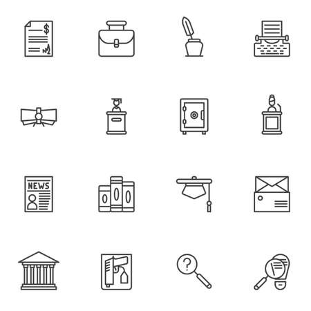 Justice line icons set. linear style symbols collection, outline signs pack. vector graphics. Set includes icons as law book, evidence gun, judge podium, detective investigation, courthouse, document