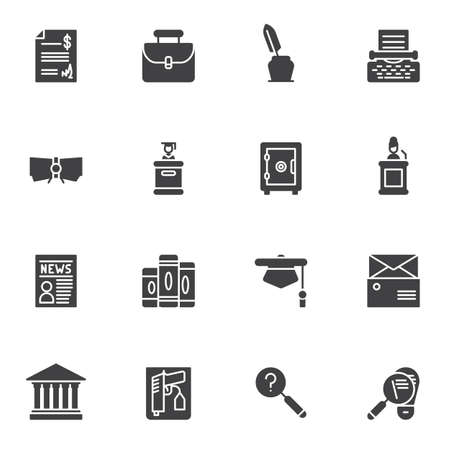Justice vector icons set, modern solid symbol collection, filled style pictogram pack. Signs,  illustration. Set includes icons as law book, evidence gun, judge podium, detective, courthouse, safe