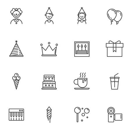 Birthday party line icons set. linear style symbols collection, outline signs pack. vector graphics. Set includes icons as gift box, birthday cake, ice cream, clown costume, cocktail drink, cone hat Ilustração