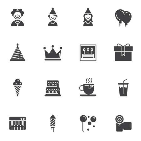 Birthday party vector icons set, modern solid symbol collection, filled style pictogram pack. Signs  illustration. Set includes icons as gift box, birthday cake, ice cream, clown costume, cone hat