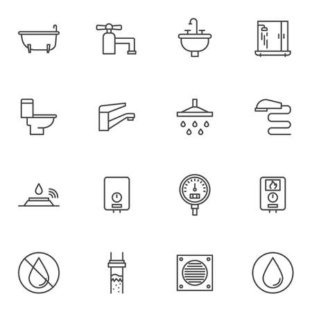 Plumbing line icons set. linear style symbols collection, outline signs pack. vector graphics. Set includes icons as water tap, shower, gauge pressure meter, heater, toilet, bathtub, sink, sewer pipe