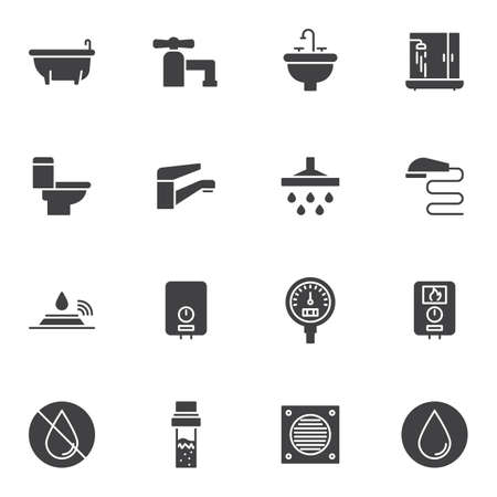 Plumbing vector icons set, modern solid symbol collection, filled style pictogram pack. Signs,  illustration. Set includes icons as water tap, shower, gauge pressure meter, heater, toilet, bathtub Illusztráció