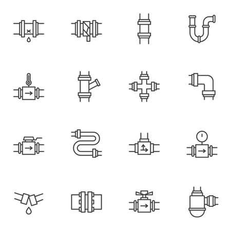 Conjunto de iconos de línea de fontanería. colección de símbolos de estilo lineal, paquete de signos de contorno. gráficos vectoriales. El juego incluye iconos como conexiones de tuberías de agua, tuberías, manómetro, reparación de tuberías rotas