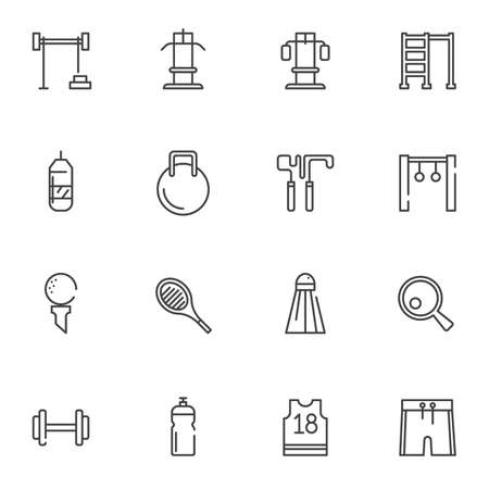 Sports equipment line icons set. linear style symbols collection outline signs pack. vector graphics. Set includes icons as fitness dumbbells, kettlebell, exercise machine, skipping rope, water bottle