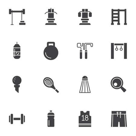 Sports equipment vector icons set, modern solid symbol collection, filled style pictogram pack. Signs,  illustration. Set includes icons as fitness dumbbells, exercise machine, skipping rope
