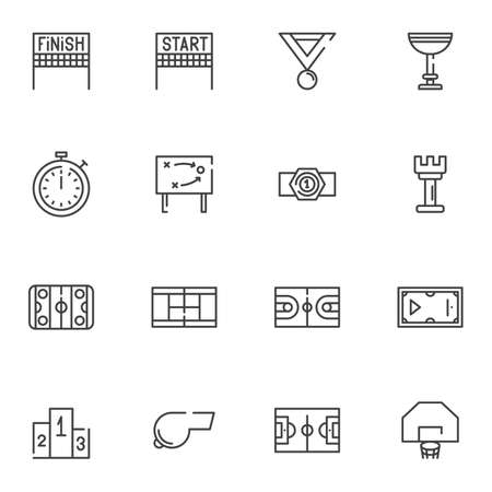 Sport equipment line icons set. linear style symbols collection, outline signs pack. vector graphics. Set includes icons as finish, start, stopwatch, game tactic, award cup, soccer field, medal