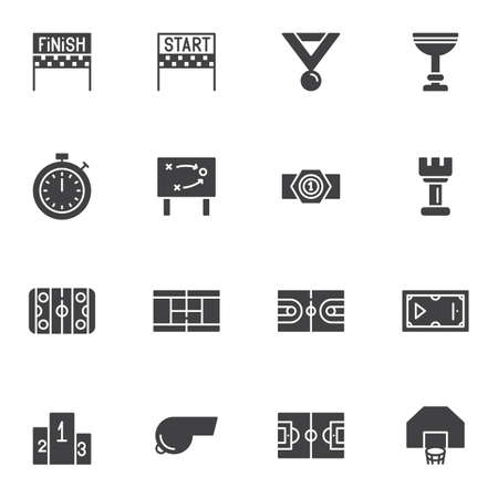 Sport equipment vector icons set, modern solid symbol collection, filled style pictogram pack. Signs,  illustration. Set includes icons as finish, start, stopwatch, game tactic, award cup, soccer