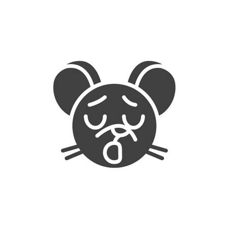 Yawning rat emoticon vector icon. filled flat sign for mobile concept and web design. Tired mouse face emoji glyph icon. Chinese 2020 year of the rat symbol,  illustration. Vector graphics