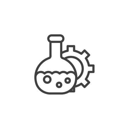 Oil industry lab line icon. linear style sign for mobile concept and web design. Laboratory glass and gear outline vector icon. Symbol,  illustration. Vector graphics