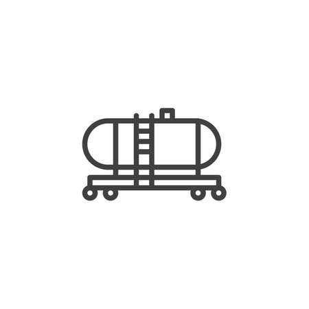 Crude Oil Tank line icon. linear style sign for mobile concept and web design. Gas Tanker outline vector icon. Symbol,  illustration. Vector graphics
