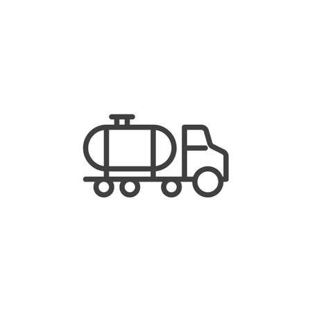 Petroleum tank truck line icon. linear style sign for mobile concept and web design. Oil tank truck outline vector icon. Symbol,  illustration. Vector graphics Illusztráció