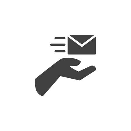 Hand with envelope vector icon. filled flat sign for mobile concept and web design. Express post delivery glyph icon. Symbol,  illustration. Vector graphics
