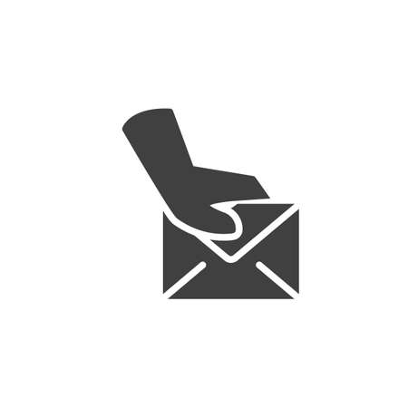 Postman delivery hand vector icon. filled flat sign for mobile concept and web design. Hand with envelope mail glyph icon. Symbol,  illustration. Vector graphics