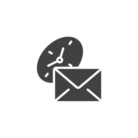 Envelope and clock vector icon. filled flat sign for mobile concept and web design. Express Post delivery glyph icon. Symbol,  illustration. Vector graphics