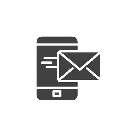 Mobile mail sending vector icon. filled flat sign for mobile concept and web design. Smartphone mail message glyph icon. Symbol,  illustration. Vector graphics