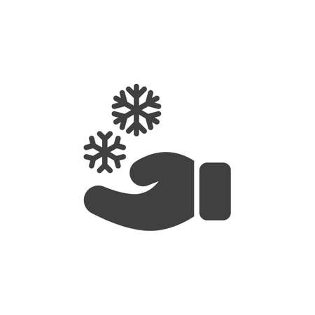 Hand and snowflake vector icon. filled flat sign for mobile concept and web design. Mitten and snowflake glyph icon. Christmas symbol,  illustration. Vector graphics Stock Illustratie