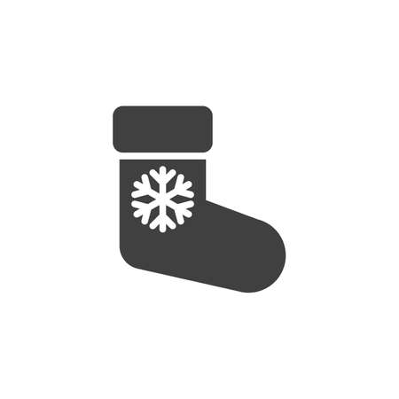 Christmas sock with snowflake vector icon. filled flat sign for mobile concept and web design. Xmas decoration sock glyph icon. Symbol,  illustration. Vector graphics Stock Illustratie