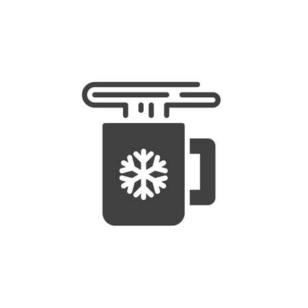 Christmas mug with hot drink vector icon. filled flat sign for mobile concept and web design. Hot drink cup with snowflake glyph icon. Symbol,  illustration. Vector graphics Stock Illustratie