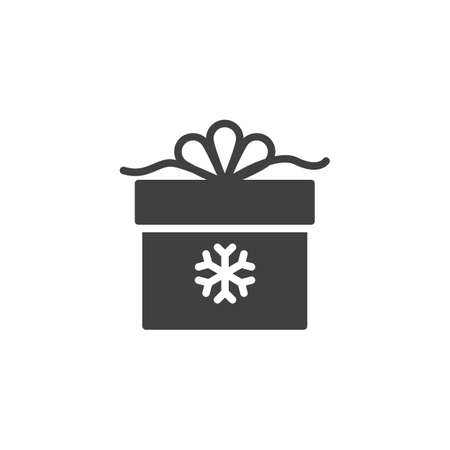 Christmas gift box with snowflake vector icon. filled flat sign for mobile concept and web design. Gift box with ribbon bow glyph icon. Symbol,  illustration. Vector graphics Stock Illustratie