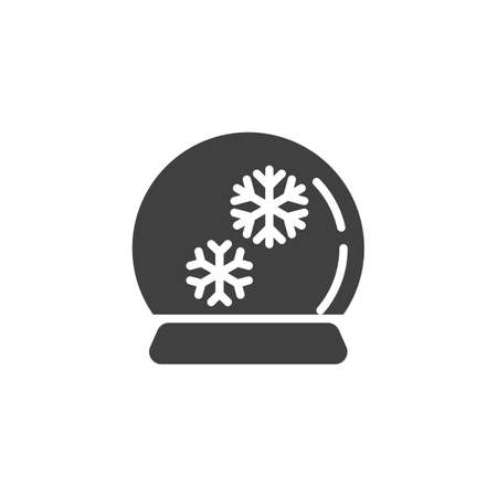 Snow globe vector icon. filled flat sign for mobile concept and web design. Christmas glass ball with snowflake glyph icon. Symbol,  illustration. Vector graphics
