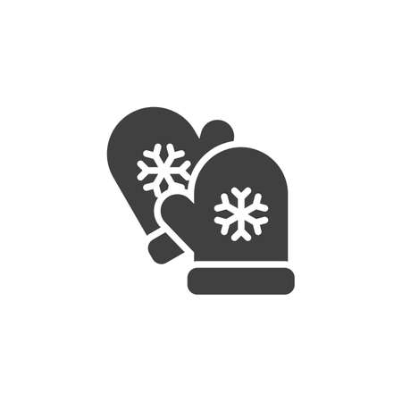 Christmas gloves vector icon. filled flat sign for mobile concept and web design. Mitten with snowflake glyph icon. Symbol,  illustration. Vector graphics
