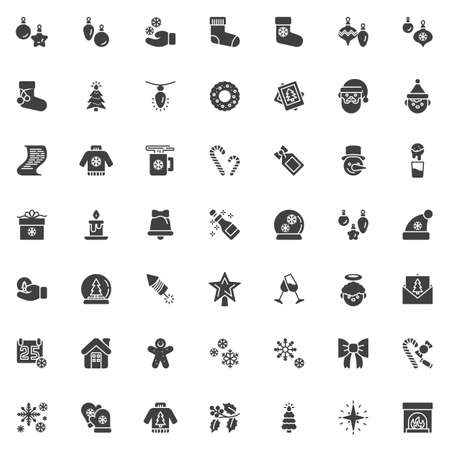 Christmas decoration vector icons set, modern solid symbol collection, filled style pictogram pack. Signs,  illustration. Set includes icons as bauble, santa clause, gift box, calendar, snowflake Stock Illustratie