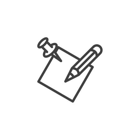 Note paper and pen line icon. Writing linear style sign for mobile concept and web design. Memo paper with pencil outline vector icon. Symbol, illustration. Vector graphics