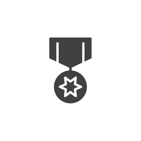 Star medal award vector icon. filled flat sign for mobile concept and web design. Medal reward glyph icon. Symbol,  illustration. Vector graphics