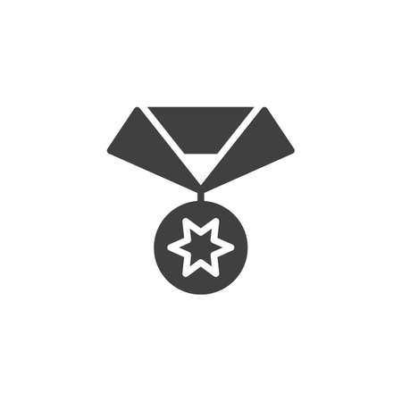 Star medal vector icon. filled flat sign for mobile concept and web design. Medal reward glyph icon. Symbol,  illustration. Vector graphics Illusztráció