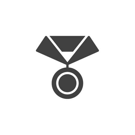 Medal with ribbon vector icon. filled flat sign for mobile concept and web design. Champion medal glyph icon. Symbol,  illustration. Vector graphics