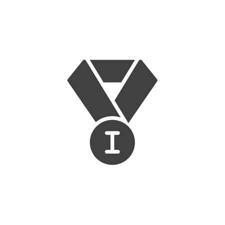 First place medal vector icon. filled flat sign for mobile concept and web design. Champion award medal glyph icon. Symbol,  illustration. Vector graphics