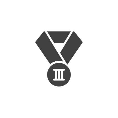 Third place medal vector icon. filled flat sign for mobile concept and web design. 3st place award medal glyph icon. Symbol,  illustration. Vector graphics