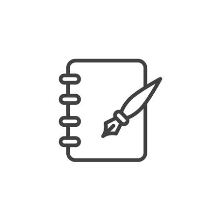 Ink pen and notebook page line icon. linear style sign for mobile concept and web design. Note pad paper and ink pen outline vector icon. Symbol,  illustration. Vector graphics Illustration