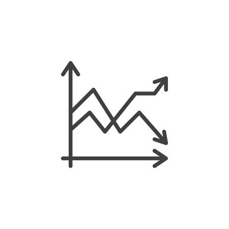 Diagram graph chart line icon. linear style sign for mobile concept and web design. Infographic statistics outline vector icon. Symbol,  illustration. Stock chart vector graphics Archivio Fotografico - 133838817