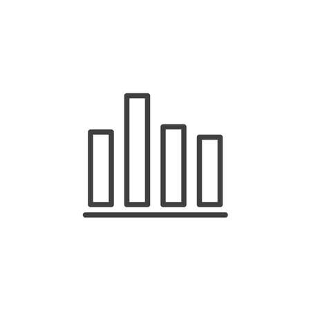 Bar chart diagram line icon. linear style sign for mobile concept and web design. Business graph statistic outline vector icon. Symbol,  illustration. Vector graphics Archivio Fotografico - 133838807