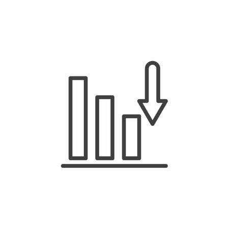 Bar chart diagram line icon. linear style sign for mobile concept and web design. Business graph statistic outline vector icon. Symbol,  illustration. Vector graphics Archivio Fotografico - 133838811