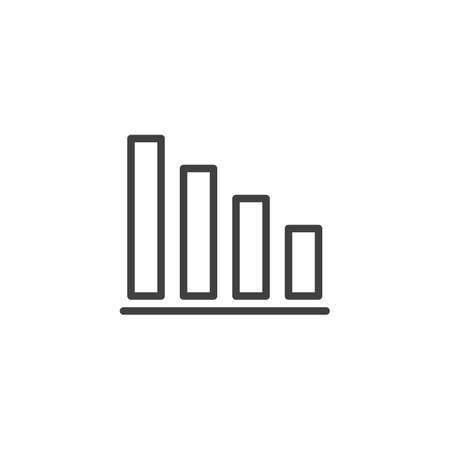 Business diagram statistic line icon. linear style sign for mobile concept and web design. Bar chart graph outline vector icon. Symbol,  illustration. Vector graphics Archivio Fotografico - 133838814
