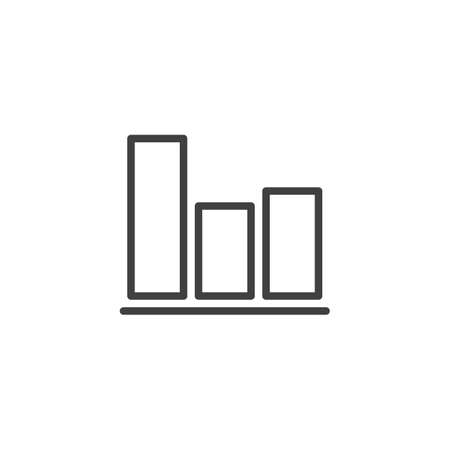 Business diagram statistic line icon. linear style sign for mobile concept and web design. Bar chart graph outline vector icon. Symbol,  illustration. Vector graphics Archivio Fotografico - 133838818