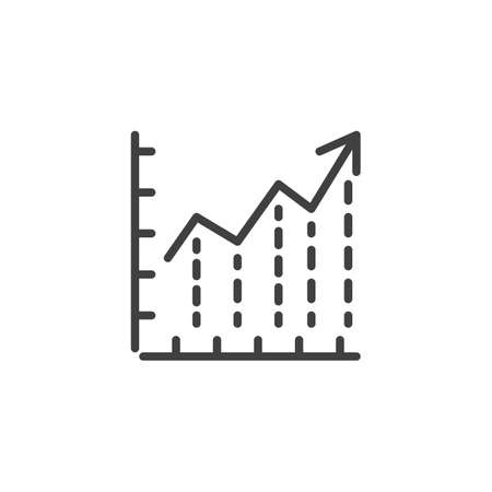 Growing graph line icon. linear style sign for mobile concept and web design. Financial graph outline vector icon. Statistic infographic symbol,  illustration. Analytics report vector graphics Archivio Fotografico - 133838819