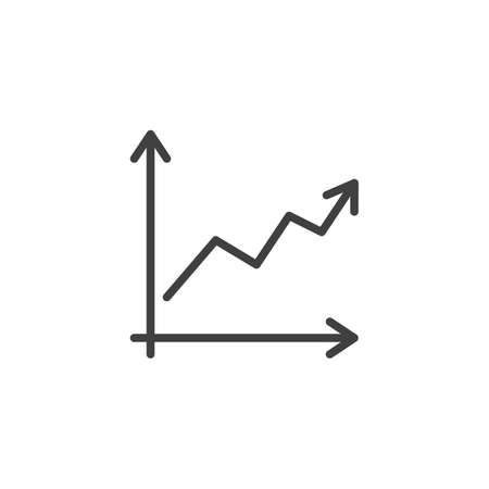 Growth graph line icon. Financial Diagram linear style sign for mobile concept and web design. Statistic graph chart outline vector icon. Business analytics symbol,  illustration. Vector graphics Archivio Fotografico - 133838820